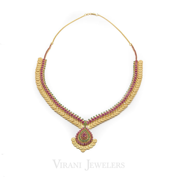 Multi-Stone Ruby& Emerald Kasu Drop Necklace and Earrings Set in 22K Yellow Gold | Multi-Stone Ruby& Emerald Kasu Drop Necklace and Earrings Set in 22K Yellow Gold for women. E...