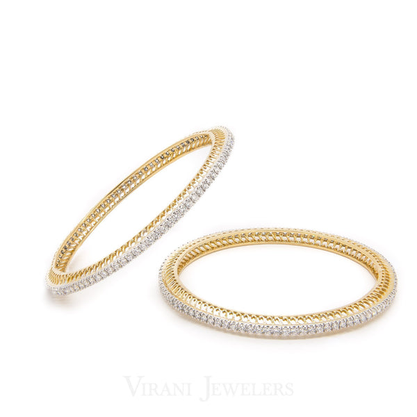 6.34CT Round Brilliant Diamond Bangles In 18K Yellow Gold, Set of 2 | 6.34CT Round Brilliant Diamond Bangles In 18K Yellow Gold, Set of 2 for women. Stunning minimal b...
