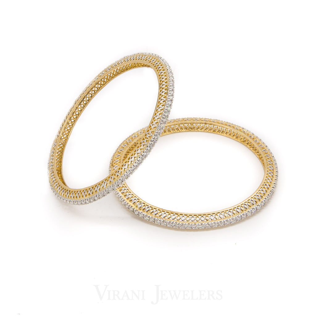 6.56CT Round Brilliant Diamond Bangles in 18K Yellow Gold, Set of 2 | 6.56CT Round Brilliant Diamond Bangles in 18K Yellow Gold, Set of 2 for women. Stunning minimal b...