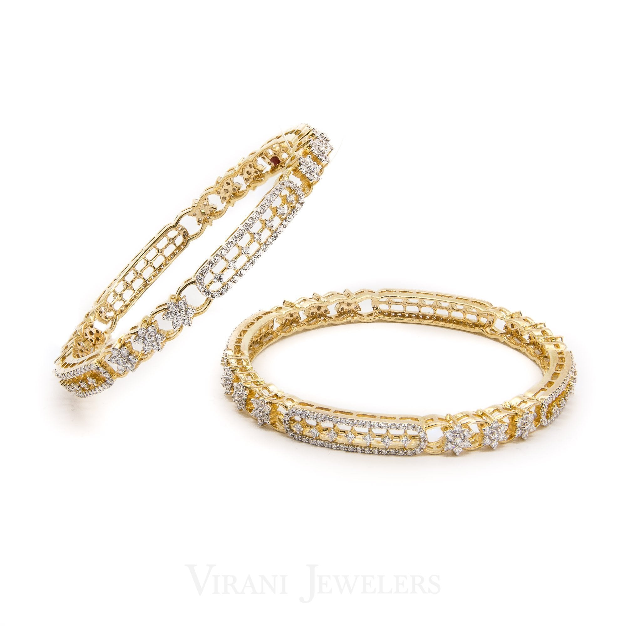 6CT Diamond Bangle Set, in 18K Yellow Gold, W/ Floral Hollow Link Accents
