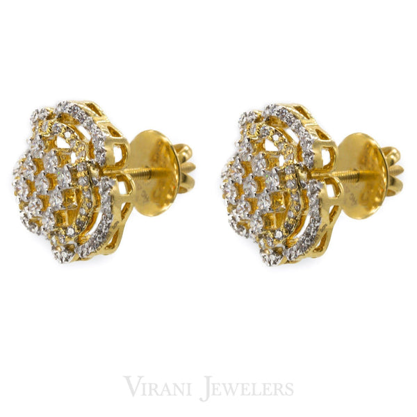 1.18CT Diamond Stud Earrings Set in 18K Yellow Gold W/ Clover Leaf Design | 1.18CT Diamond Stud Earrings Set in 18K Yellow Gold W/ Clover Leaf Design for women. Beautifully ...