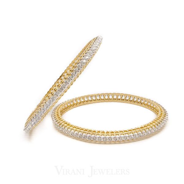 6CT Round Brilliant Diamond Bangles in 18K Yellow Gold, Set of 2 | 6CT Round Brilliant Diamond Bangles in 18K Yellow Gold, Set of 2 for women. Diamond trimmed bangl...