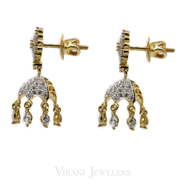 1.04CT Jellyfish Diamond Drop Jhumki Earrings Set in 18K Yellow Gold | 1.04CT Jellyfish Diamond Drop Jhumki Earrings Set in 18K Yellow Gold for women. Stunning diamond ...