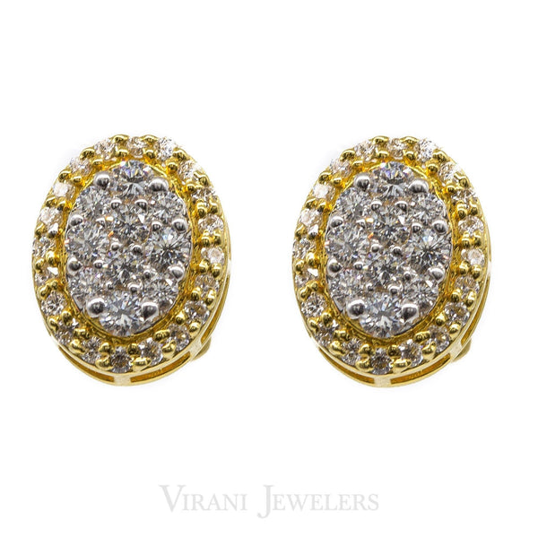 0.61CT Oval Diamond Stud Earrings 18K Yellow Gold | .61CT Oval Diamond Stud Earrings 18K Yellow Gold for women. Stunning oval studds set with 0.61CT ...