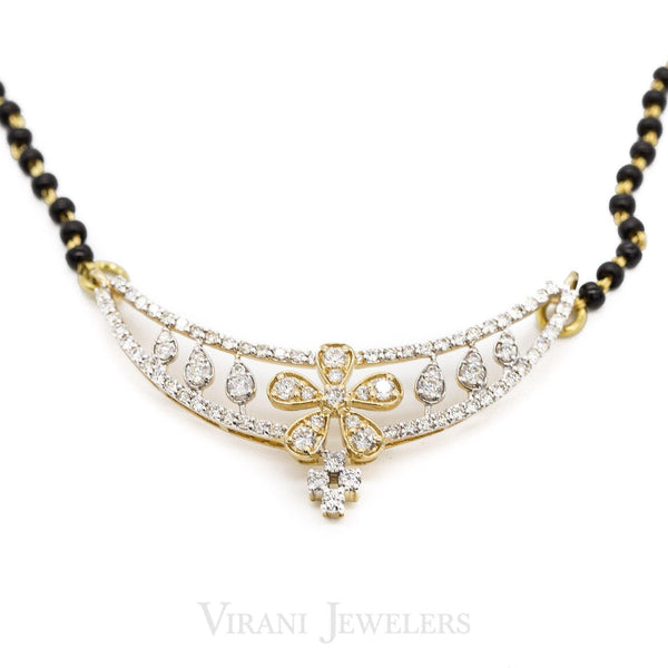 0.86 CT Floral Designed Diamond Pendant Set in 18K Yellow Gold on Mangalsutra Necklace | 0.86 CT Floral Designed Diamond Pendant Set in 18K Yellow Gold on Mangalsutra Necklace for women....