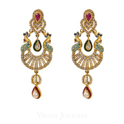 Colored Cubic Zirconia Peacock Chand Bali Drop Earrings Set in 22K Yellow Gold