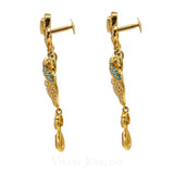 Colored Cubic Zirconia Peacock Chand Bali Drop Earrings Set in 22K Yellow Gold | Colored Cubic Zirconia Peacock Chand Bali Drop Earrings Set in 22K Yellow Gold for women. Stunnin...