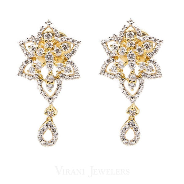 18K Multi Tone Diamond Necklace and Earrings Set | Tradtional 18k Diamond Necklace with matching earrings.