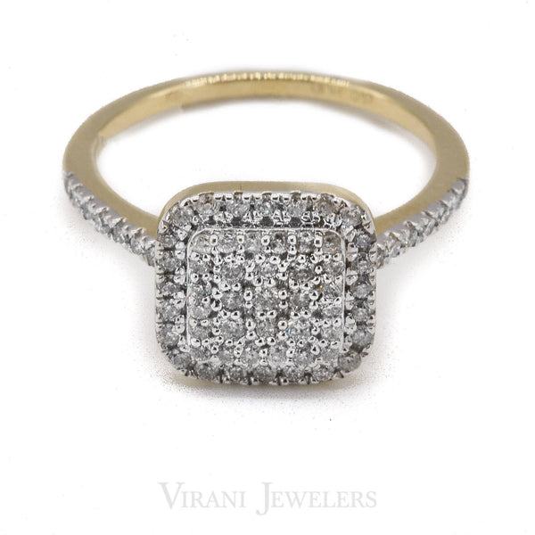 0.56CT Double SquareFrame Diamond Ring Set In 14K Yellow Gold | 0.56CT Double Square Frame Diamond Ring Set In 14K Yellow Gold for women. Gold weight is 3.2 gram...