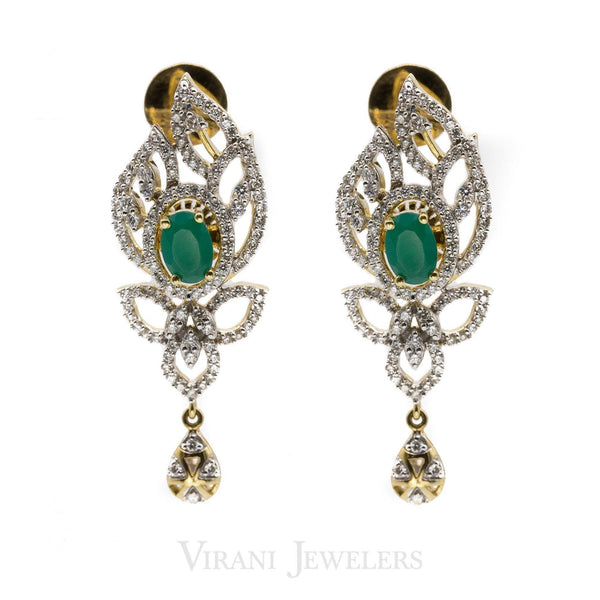 0.86 CT Floral Diamond Drop Earrings in 18K Yellow Gold W/ Centered Emerald Stone | 0.86 CT Floral Diamond Drop Earrings in 18K Yellow Gold W/ Centered Emerald Stone for Women. Gold...