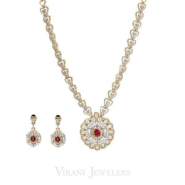 15.65 CT Diamond Necklace and Earring Set W/ Heart Shaped Chain Link | 15.65 CT Diamond Necklace and Earring Set W/ Heart Shaped Chain Link for women. Unique heart-shap...