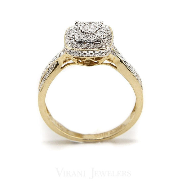 0.54CT Double Frame Diamond Ring In 14K White Gold W/ Twisted Baguette | 0.54CT Double Frame Diamond Ring In 14K White Gold W/ Twisted Baguette for women. Stunning hand c...