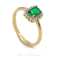 Asscher Emerald Ring Set in 14K Yellow Gold W/ 0.12 CT Diamonds