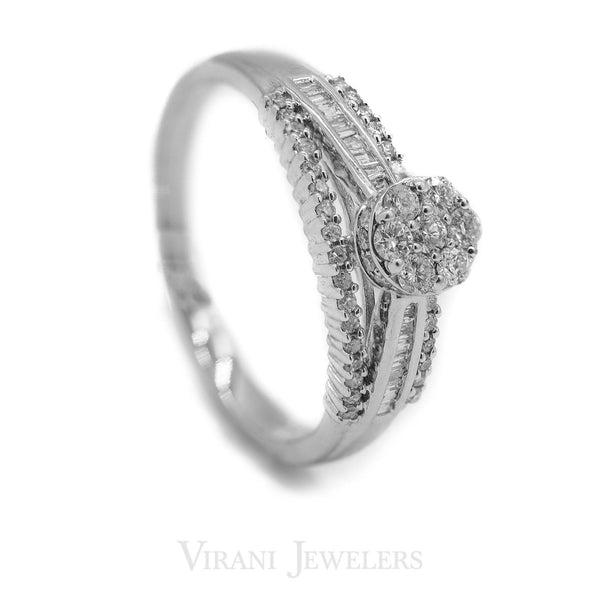 0.49CT Clustered Halo Diamond Ring Set in 14K White Gold | 0.49CT Clustered Halo Diamond Ring Set in 14K White Gold for women. A unique engagements rings wh...