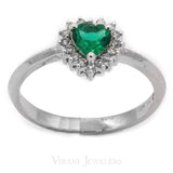 Heart Shaped Emerald Ring in 14k White Gold W/ 0.11CT Diamonds | Heart Shaped Emerald Ring in 14k White Gold W/ 0.11CT Diamonds for women. Stunning classic heart ...