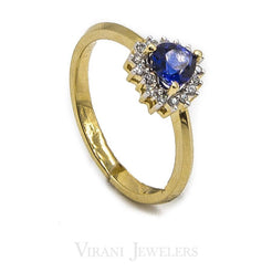 Heart Shaped Sapphire Ring Set in 14K Yellow Gold W/ 0.11CT Diamonds