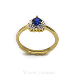Heart Shaped Sapphire Ring Set in 14K Yellow Gold W/ 0.11CT Diamonds | Heart Shaped Sapphire Ring Set in 14K Yellow Gold W/ 0.11CT Diamonds for women. Beautifully cut c...