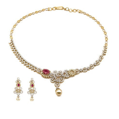 5.8CT Diamond Asymmetric Necklace and Earrings Set In 18K Yellow Gold W/ Pearl & Ruby Accent