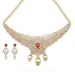 18K Yellow Gold Diamond Bridal Necklace & Earrings Set W/ 8.17ct Diamonds, Rubies & Pearls