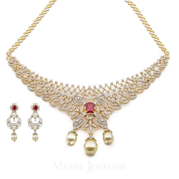 18K Yellow Gold Diamond Bridal Necklace & Earrings Set W/ 8.17ct Diamonds, Rubies & Pearls | 18K Yellow Gold Diamond Bridal Necklace & Earrings Set W/ 8.17ct Diamonds, Rubies & Pearl...