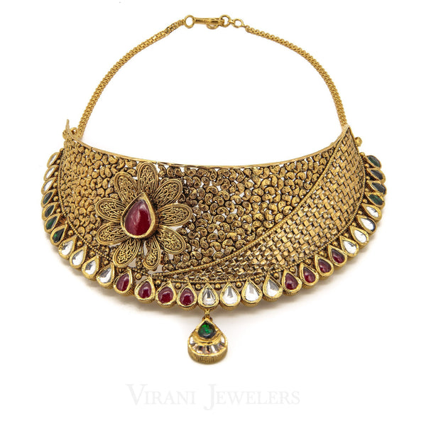 22K Yellow Gold Necklace Choker and Earrings Set W/ Kundan, Emerald & Ruby Gems | 22K Yellow Gold Necklace Choker and Earrings Set W/ Kundan, Emerald & Ruby Gems for women. Ne...