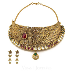 22K Yellow Gold Necklace Choker and Earrings Set W/ Kundan, Emerald & Ruby Gems