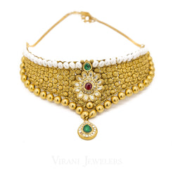 22K Yellow Gold Choker Necklace and Earrings Set W/ Multi Gemstones