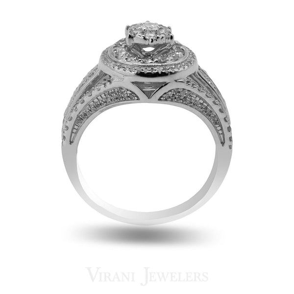 1.02 CT Clustered Diamond Engagement Ring Set in 14K White Gold | 1.02 CT Clustered Diamond Engagement Ring Set in 14K White Gold for women. Detailed with a stunni...