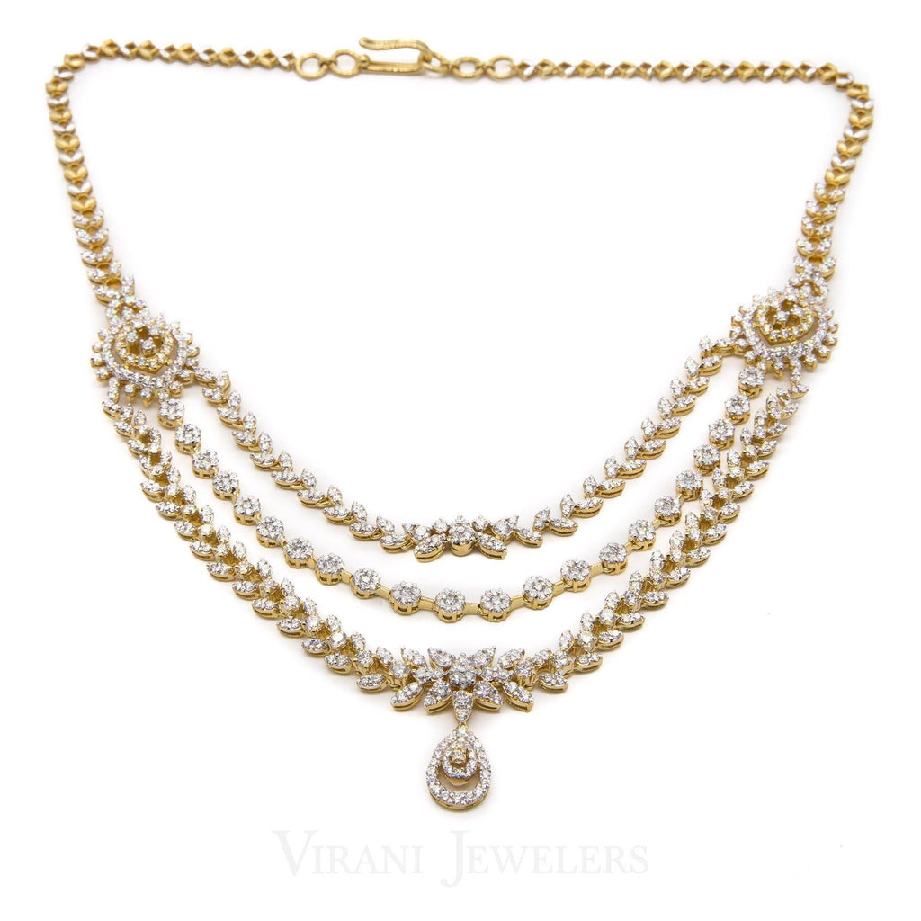 10.08CT Diamond Necklace and Earring in 18K Yellow Gold W/ Cable Link Chain - Virani Jewelers | 10.08CT Diamond Necklace and Earring in 18K Yellow Gold W/ Cable Link Chain for women. Gold weigh...