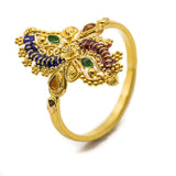 22K Yellow Gold Peacock Ring W/ Semi Precious Stones & Hand Paint Finish | 22K Yellow Gold Peacock Ring W/ Semi Precious Stones & Hand Paint Finish for women. Beautiful...