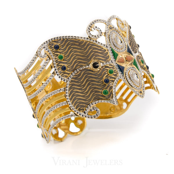 22K Yellow Gold Hand Painted Butterfly Cuff Bangle W/ Diamond Cutting | 22K Yellow Gold Hand Painted Butterfly Cuff Bangle W/ Diamond Cutting for women. Stunning hand-pa...