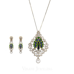 5.83 CT VVS Diamond Peacock Pendant and Earrings Set in 18K Gold