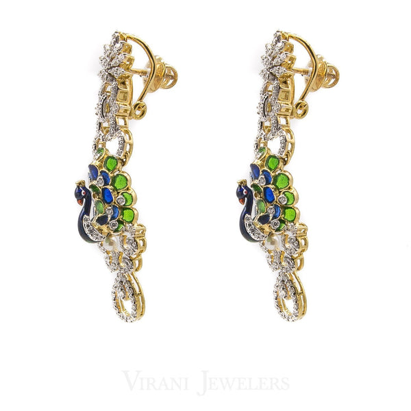 5.83 CT VVS Diamond Peacock Pendant and Earrings Set in 18K Gold | 5.83 CT VVS Diamond Peacock Pendant and Earrings Set in 18K Gold for women. This beautiful diamon...