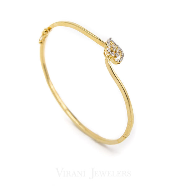 18K Yellow Gold Diamond Bangle Cuff W/ 0.28 Diamonds & Leaf Accent Design | 18K Yellow Gold Diamond Bangle Cuff W/ 0.28 Diamonds & Leaf Accent Design for women. This ele...