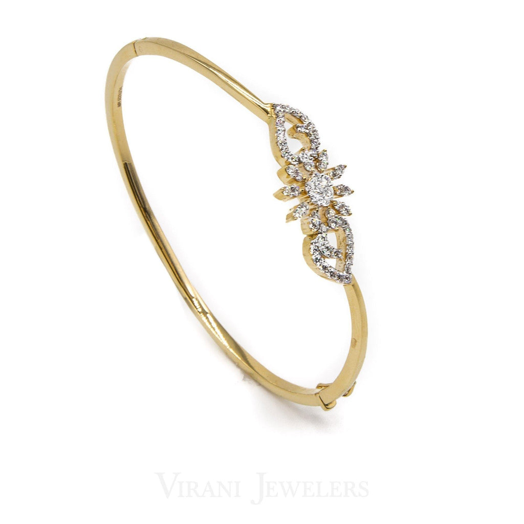 0.66CT Diamond Cuff Bracelet Set in 18K Yellow Gold W/ Centered Flower Design | .66CT Diamond Cuff Bracelet Set in 18K Yellow Gold W/ Centered Flower Design for women. Bangle di...