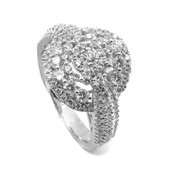 1.31CT Brilliant Engagement Diamond Ring Set in 14K White Gold W/ Round Frame - Virani Jewelers