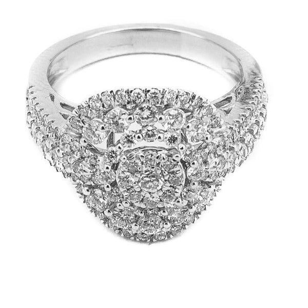 1.31CT Brilliant Engagement Diamond Ring Set in 14K White Gold W/ Round Frame | 1.31CT Brilliant Engagement Diamond Ring Set in 14K White Gold W/ Round Frame for women. This stu...