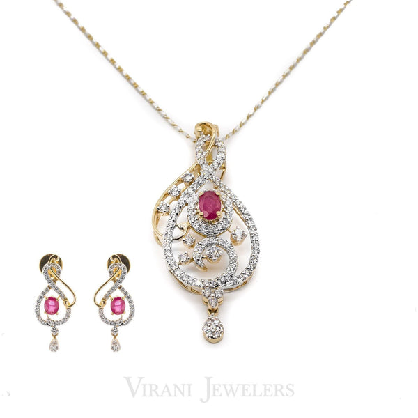 1.46 CT Round Brilliant Diamond Ruby Pendant and Earrings Set in 18K Yellow & White Gold | 1.46 CT Round Brilliant Diamond Ruby Pendant and Earrings Set in 18K Yellow & White Gold for ...