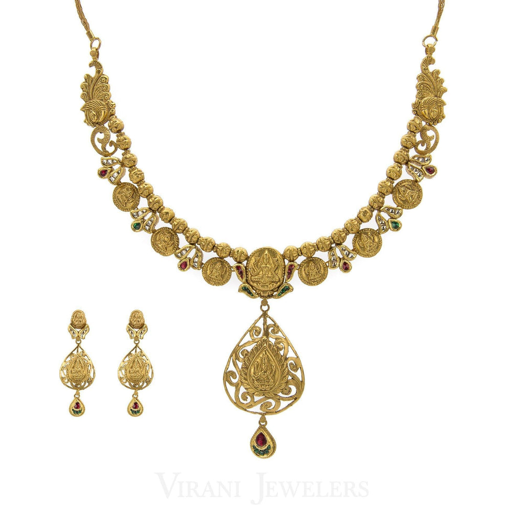22K Antique Gold Charm Necklac & Drop Earrings Set W/ Ruby, Emerald, and Kundan Stones | 22K Antique Gold Charm Necklac & Drop Earrings Set W/ Ruby, Emerald, and Kundan Stones for wo...