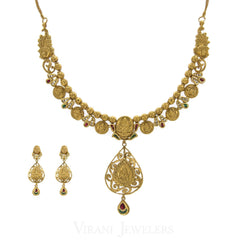 22K Antique Gold Charm Necklac & Drop Earrings Set W/ Ruby, Emerald, and Kundan Stones