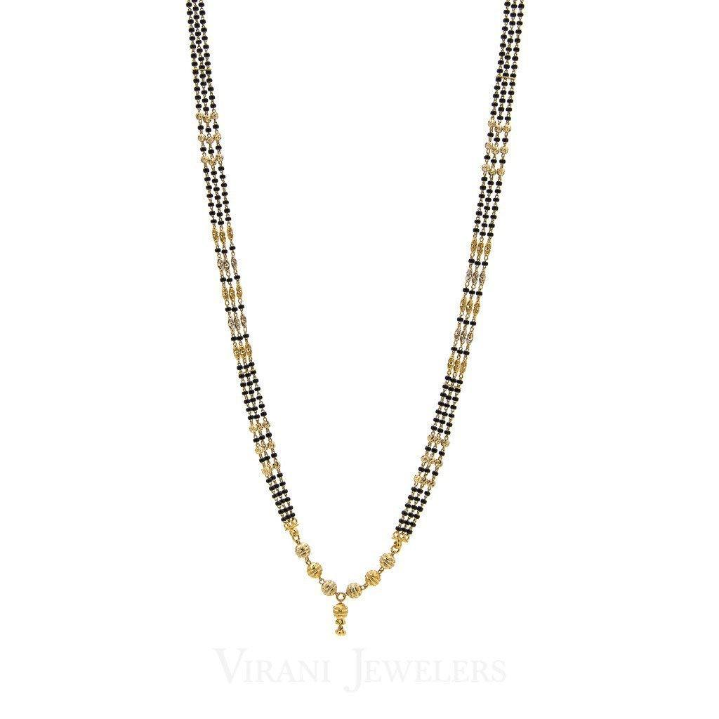 22K Yellow Gold Mangalsutra Necklace W/3 Strands of Dark & Gold Beads Accents | 22K Yellow Gold Mangalsutra Necklace W/3 Strands of Dark & Gold Beads Accents for women. Beau...
