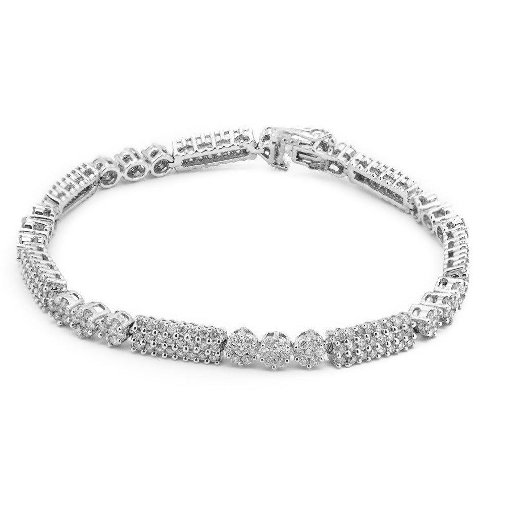 4.03CT Diamond Modern Tennis Bracelet Set in 18K White Gold W/ Fold Over Closure | 4.03CT Diamond Modern Tennis Bracelet Set in 18K White Gold W/ Fold Over Closure for women. Brace...