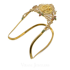 22K Yellow Gold Laxmi Arm Vanki W/ Ruby, Emerald & Cubic Zirconia Stones