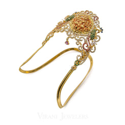 22K Yellow Gold Laxmi Arm Vanki Set W/ Ruby, Emerald & Cubic Zirconia Stones