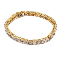 4.03CT Diamond Modern Tennis Bracelet Set In 18K Yellow Gold W/ Fold Over Closure
