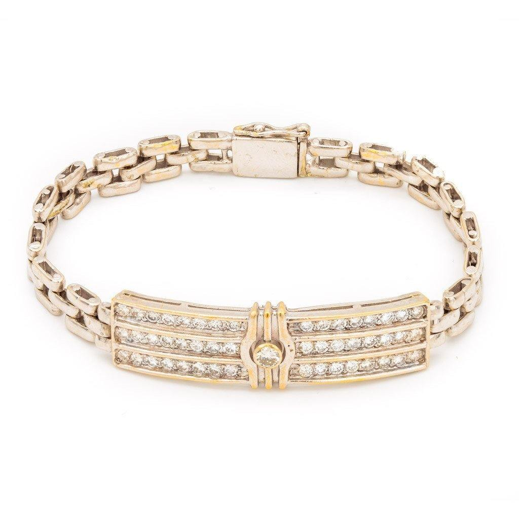 1.43CT Diamond Box Chain Bracelet Set In 18K Yellow Gold W/Rectangle Frame for Men | 1.43CT Diamond Box Chain Bracelet Set In 18K Yellow Gold W/Rectangle Frame for Men. Gold weight i...