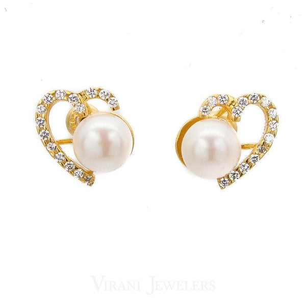 Pearl Necklace & Earring Set Set in 22K Yellow Gold W/ Cubic Zirconia Stones - Virani Jewelers | Pearl Necklace & Earring Set Set in 22K Yellow Gold W/ Cubic Zirconia Stones for women. This ...