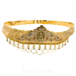 22K Yellow Gold Vadanam Laxmi Waistbelt W/ Gem Encrusted Peacock Design