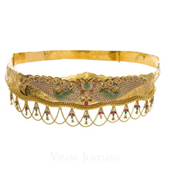 22K Yellow Gold Vaddanam Chandelier Waist belt W/Multi Stone Encrusted Colorful Peacock Design