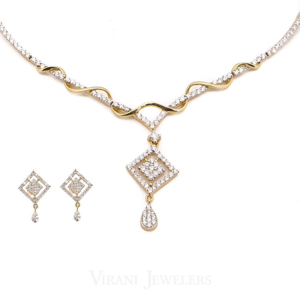 3.73CT Diamond Necklace and Earrings in 18K Yellow Gold W/ Double Diamond Frame Pendant | 3.73CT Diamond Necklace and Earrings in 18K Yellow Gold W/ Double Diamond Frame Pendant for women...